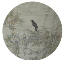 中国画花鸟扇面作品图片