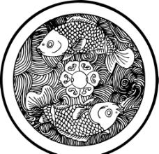 年年有鱼 鲤鱼 矢量线图片