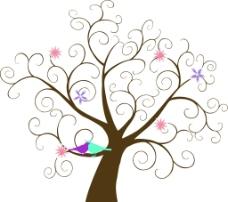 树 小鸟   花瓣图片