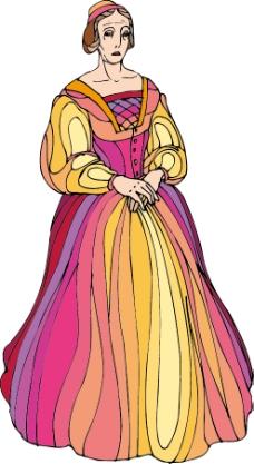 卡通穿裙子的女人