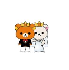 轻松熊婚礼公仔图片