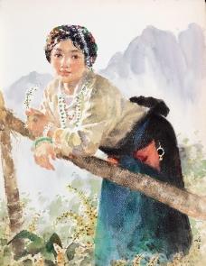 倚栏的藏族少女图片