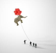创意大象和气球图片