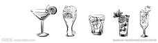 黑白线条的几种饮品图片