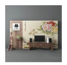 新中式电视墙图片