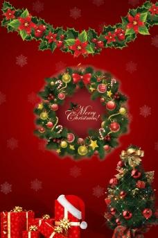 红色圣诞海报素材图片