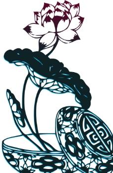 荷花莲花剪纸矢量图片