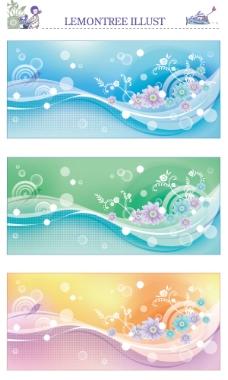 绚丽梦幻花卉背景矢量素材