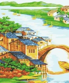 水乡小镇 数字油画图片
