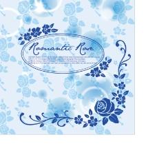 蓝色梦幻花卉背景矢量素材