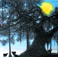 月上榕梢图片
