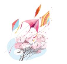 风筝、花、春季矢量小图片