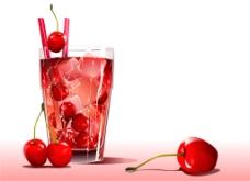 樱桃冷饮矢量素材