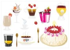 诱人的蛋糕和饮品矢量