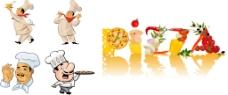 可爱卡通厨师与美食矢量素材