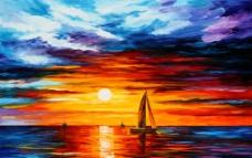 现代海上日出油画图片