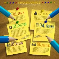 便利贴与铅笔商务信息图
