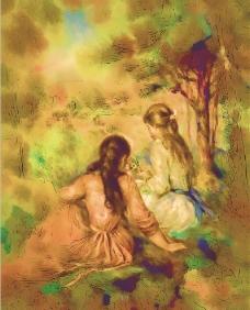 二个人物油画