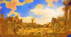 城市建筑油画