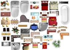 戶型渲染家具圖片