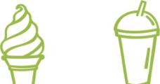 冰激凌 饮料杯矢量图图片