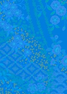 蓝色日式花纹背景