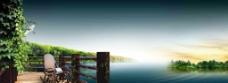 栈桥湖面素材图片