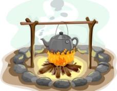 户外生火做饭