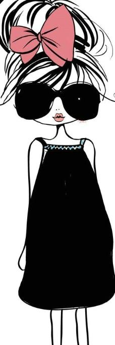时尚卡通人 手绘女孩