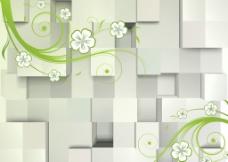 3D立体方块简约矢量花图片