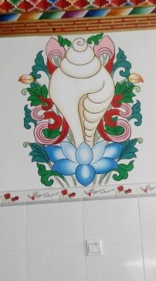 藏族客厅彩绘图片
