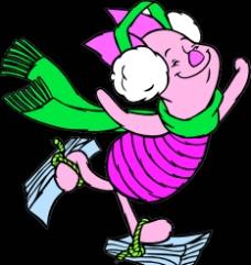 欢乐溜冰中的小猪猪图片