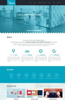 蓝色机构企业网页模板图片