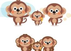可爱卡通小动物猴子图片
