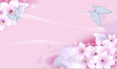 粉色效果壁画