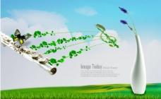 蓝天白云长笛乐器与花瓶PSD分层素材