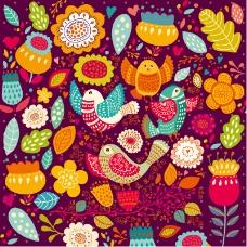 卡通花朵与小鸟背景