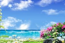 蓝天大海风景图片