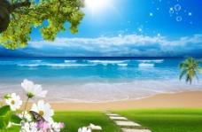 大海草地风景图片