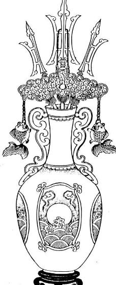 花瓶 青花瓷 瓷瓶线描