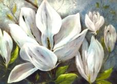 白花油画图片