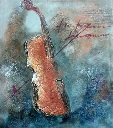 小提琴油画图片