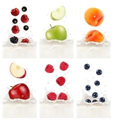 6款水果鲜奶背景矢量素材