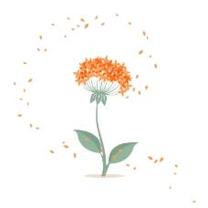素雅橘色花卉背景矢量素材