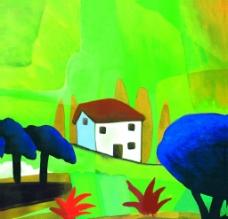 房屋树木风景油画图片