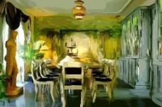 房屋场景油画图片