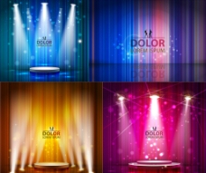 舞台灯光条纹背景矢量素材图片