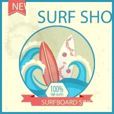 复古夏威夷冲浪板插画矢量素材