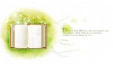 梦幻绿叶书本矢量元素