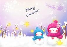 圣诞雪人  雪花图片